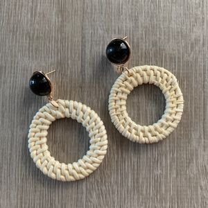 NWT WICKER / RATTAN EARRINGS - Black Circles
